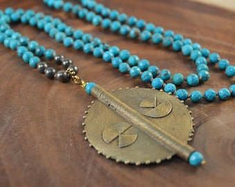 Brass Pendant Necklace, Turquoise Magnesite, African Brass, Bohemian Jewelry, Hand Knotted, Boho Necklace, Long Beaded Necklace, Statement