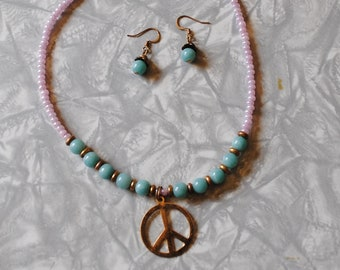Amazonite peace necklace and earrings