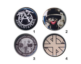 Crass Buttons 80s Pin Badges 25mm 1 inch Badge Button Punk Anarchy & Peace / Fight War / Logo / Bloody Revolutions