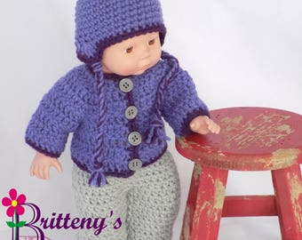 Baby Doll Clothes  Crochet Baby Doll Clothes  Crochet Baby Doll Purple Cardigan Sweater Ear Flap Hat Boots Gray Boots Baby Doll Clothing