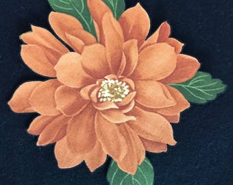 Burnt Orange Flower Applique*Iron On*Handmade/149