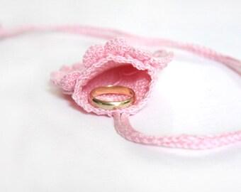 Crochet Drawstring Wedding Ring Holder, pink petals pattern, crochet bag, feminine pouch, wedding ceremony, mini purse, fitness, jogging bag
