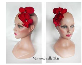 Red Orchid fascinator, fascinator wedding, wedding, ceremony, Kopfschmuck Hat pillbox hat