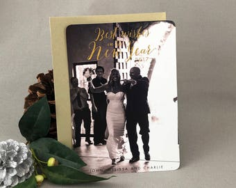 Best Wishes in the New Year from the New Mr and Mrs Gold Script Newlywed New Years Card with Gold Metallic Envelope