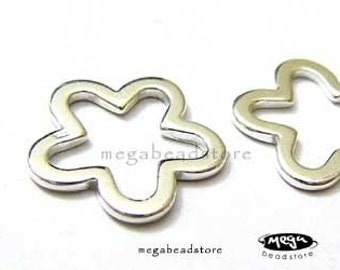 2 pcs Flower Connector 925 Sterling Silver Connectors F264