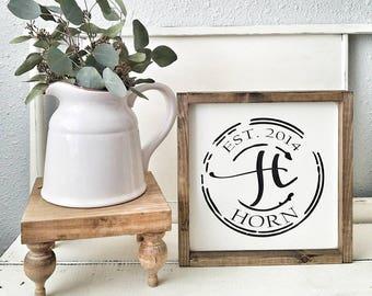 Family Established sign. Vintage Stamp Style. Rustic framed sign. Wedding gift. Housewarming gift. Framed wood sign.