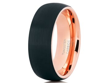 Tungsten Wedding Band,Rose Gold Ring,Black Brush Wedding Band,Comfort Fit Men & Women,Dome Tungsten Band,Unique