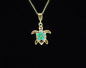 Opal Necklace Gold Plumeria Turtle Pendant, Green Lab Opal Necklace, Layering Necklace, Fire Opal Jewelry, Sea Turtle Necklace gift for her