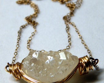 Showstopper   Titanium Druzy Wire Wrapped Double Chain Necklace