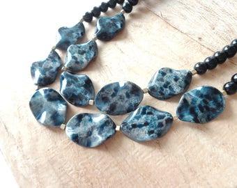 chunky blue black necklace statement style, double strand