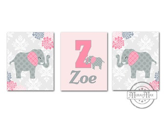 Pink and Gray Elephant Nursery Art - Set of Three Prints - Floral Baby Girl Nursery Art - Personalized Baby Name Print