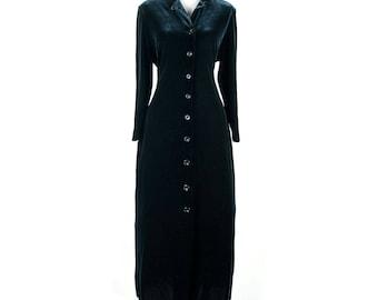 Vintage 1980s Gothic Inky Black Velvet Coat