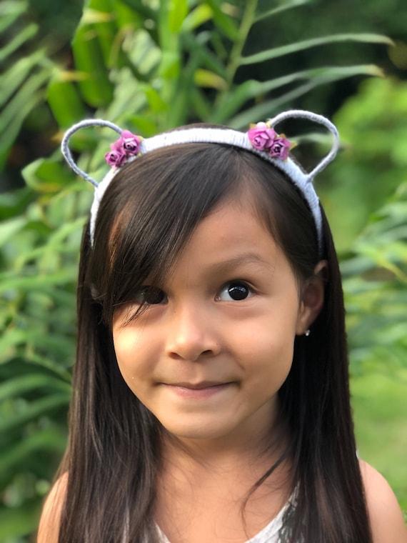 Bear Ears Headband, Cat Ears Headband, Gray Ears Headband, Purple Flowers Headband, Bear Headband, Cat Headband, Animal Ear Headband