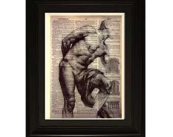 "Strenght"".Dictionary Art Print. Vintage Upcycled Antique Book Page. Fits 8""x10"" frame"