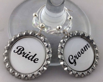 Bride & Groom Wedding Bottle Cap Wine Glass Charm Gift Set 2 x 35mm Wine Bottle Top Charms with gift tin Perfect Stocking Filler Handmade