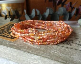 Sun Kissed Carnelian, Citrine Long Seed Bead Wrap Bracelet, Necklace