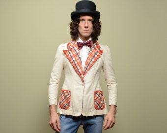vintage blazer 70s linen plaid sport coat 1970 wide lapel funky clown jacket bold pattern 1970s Rag Doll men 34-36S XS women S/M