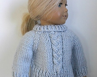 "18 Inch Doll Clothes Cable Braid Knit Sweater Light Blue Buttons in Back Handmade to fit the American Girl and Similar 18"" Dolls"