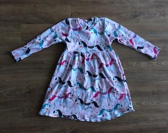 Toddler Girls Mystical Horses Long Sleeve Knit Twirl Dress