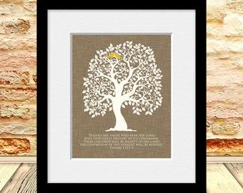 Wedding Gift, Bridal Shower Gift, Room Decor, Family Tree Wall Print, Psalms 112:1-2, Housewarming Gift, Parent's Gift, Christmas Gift
