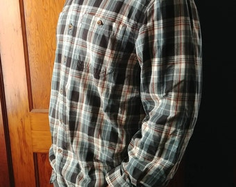 Carhartt Men's Plaid Flannel Shirt- Work or Play- Perfect Condition- Like New- Blue and Grey