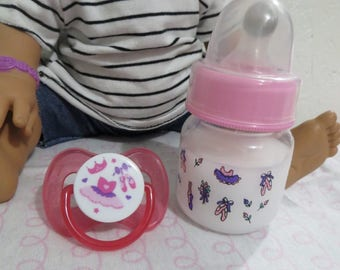 Baby Alive Bottle + Baby Alive Pacifier - 2oz Ballerina Preemie Magnetic Bottle + Pink Pacifier - Handmade for BABY ALIVE Changing Time Wet