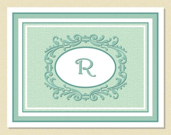 Monogram Note Cards - Lovely Scrolling Motif - Personalized (10 Folded)