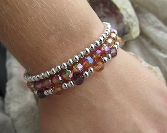 3 matching bracelets on elastic wire
