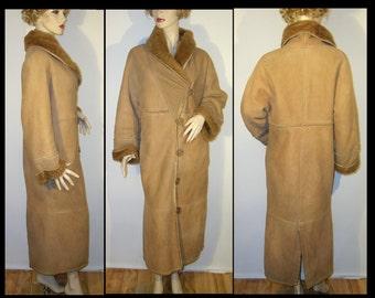 Gabriel Pisani brown sheepskin shearling fur coat Small Medium 38 ~ avant garde ~ long robe style ~ designer couture jacket ~ Made in Italy