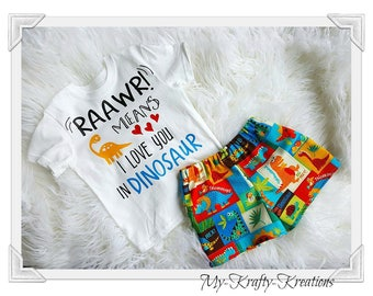 Boys Dino Set Raawr Means I Love you Custom Size