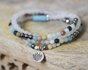 Amazonite and Silver Stack // Beaded Bracelet Set // Boho Bracelets // Yoga Bracelets