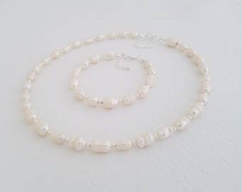 Real Freshwater Pearl Necklace, Genuine Pearl Necklace, Freshwater Pearl Necklace, Wedding Jewelry, Real Pearl Necklace, First Pearls,