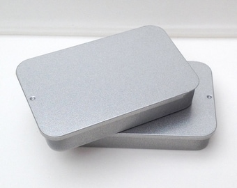 40ml Sliding Lid Tins, Rectangular Metal Tins, Color Silver, Small Storage (A Set Of 50 Tin Boxes)