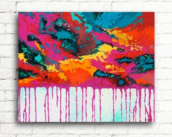 Large Abstract Painting Modern Home Decor, Colorful Wall Art, Contemporary Art Wall Decor, Magenta Red and Blue