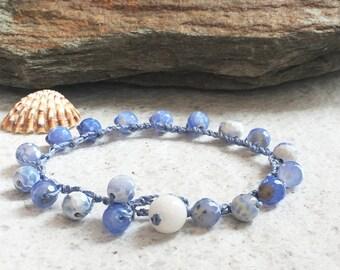 Blue gemstone bracelet Agate bracelet Single wrap bracelet gift Boho crocheted jewelry Beach bracelet Something blue Aqua bracelet for woman