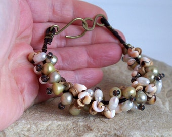 Day At The Beach - Freshwater Pearl Shell Wood Glass Bead Leather And Brass Bracelet SRAJD