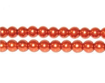 6mm Round Bronze Glass Pearl Bead
