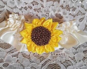 Sunflower Wedding Garter set, Ivory with handmade yellow satin Sunflower, Lace, and Pearls