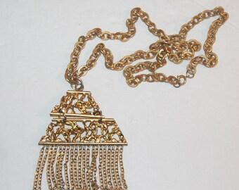 Funky Dangle Chain Pyramid Necklace Mod Hippie Original Retro 70's Fun Pendant