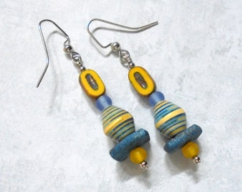 Blue and Yellow Boho Earrings (3889)