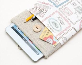 30% OFF SALE Coffee Pattern iPad Mini 4 Case with button closure. Padded Cover for iPad Mini 1 2 3 4. iPad Mini Sleeve Bag.