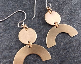 Circle Earrings - Bronze Earrings - Half Circle Earrings - Moon Earrings - Half Moon Earrings - Bronze Earrings  0045