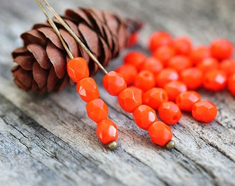 Orange 4mm czech glass beads spacers - fire polished faceted beads - 50Pc - 0149