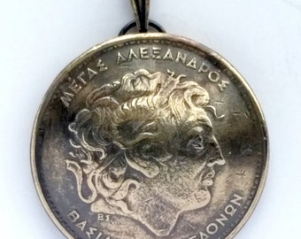Greek Jewelry Alexander the Great Myth Mythological Vintage Necklace Jewelry Unique Charm Foreign World Made in Greece, Jewelry from Greece
