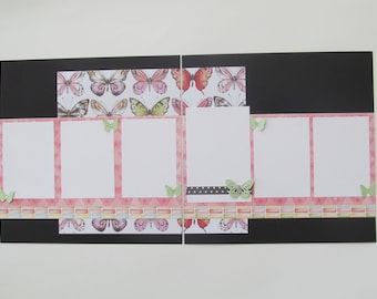 Butterflies Premade or DIY Kit,12x12 Scrapbook Layout, Scrapbook Page Kit