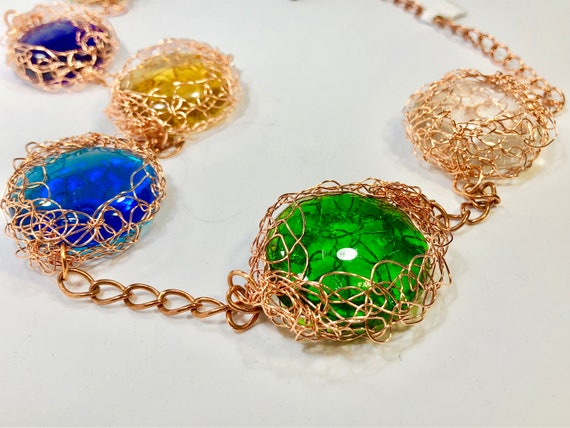 SJC10090 - Handmade glass cabochon and wire crochet necklace with copper chain