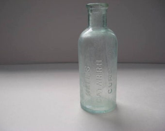 Halls Catarrh Cure FM Cheney of Toledo Ohio, Antique Bottle, 1800's, old bottle, medicine bottle, vintage bottle, collectible glass, decor