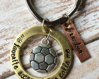 Soccer Keyring Mother's Day Gift - Soccer Mom - Soccer Ball Charm - Grandma - Soccer Player Gift - Inspired Jewelry Designs - Hand Stamped