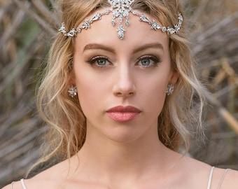 Silver bridal headpiece, bohemian bridal headpiece, wedding accessories, bridal hair accessories, indian bridal headpiecem Tikka,  H241-S
