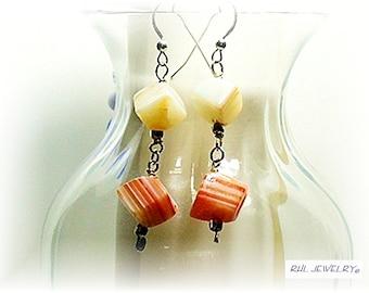Carnelian Earrings, Orange Earrings, Asymentric Jewelry, Cube Chakra Earrings - E2010-11